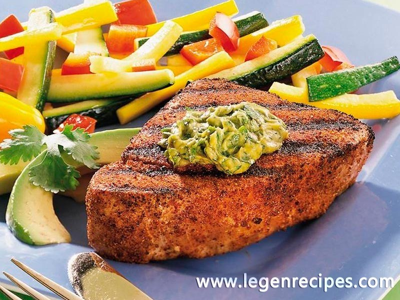 Grilled Tuna with Cilantro-Avocado Butter
