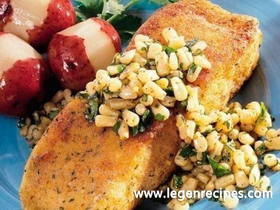 Halibut with Corn and Lime-Cilantro Butter