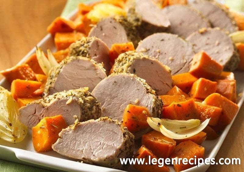 Baked Pork Loin With Sweet Potatoes Recipe — Dishmaps