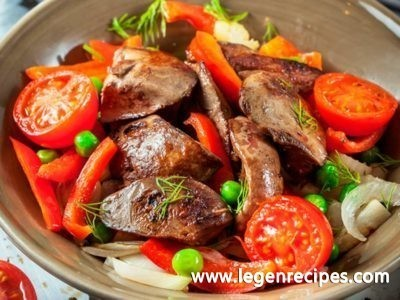 Liver chicken: salad recipe with vegetables