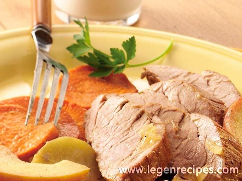 Roast Pork with Apples and Sweet Potatoes - Legendary Recipes