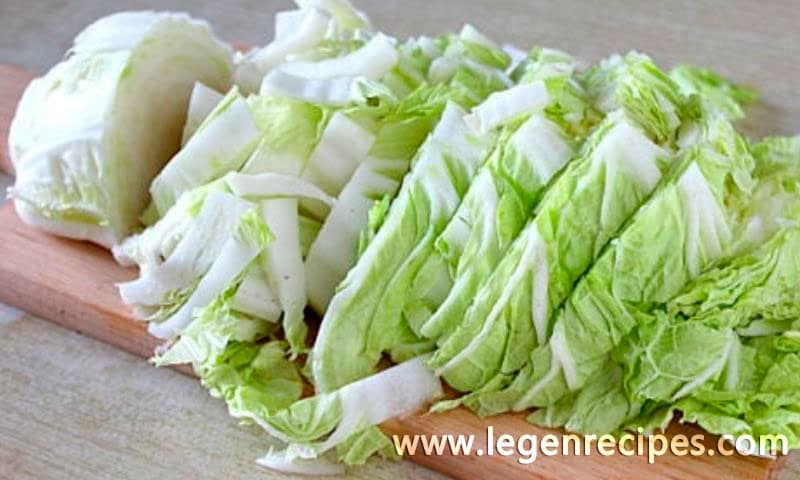 Light salad with Chinese cabbage and corn