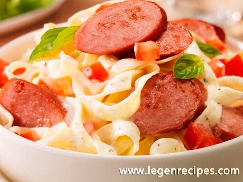 Smoked sausage alfredo