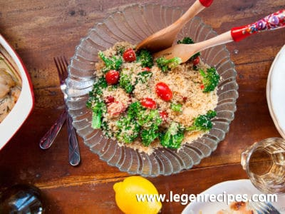 Couscous Salad with Cherry Tomatoes and Broccoli