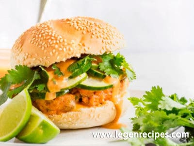 Salmon Burgers with Sriracha Hoisin Mayo and Pickled Cucumbers
