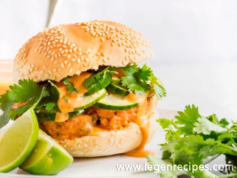 Salmon Burgers with Sriracha Hoisin Mayo and Pickled Cucumbers