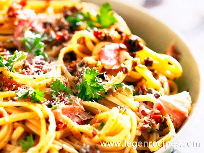 Olive Tapenade Linguini with Prosciutto - Legendary Recipes