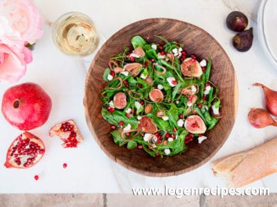 Pea Tendril Salad with Figs and Pomegranate