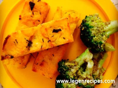 Herbed polenta chips & pesto broccoli trees