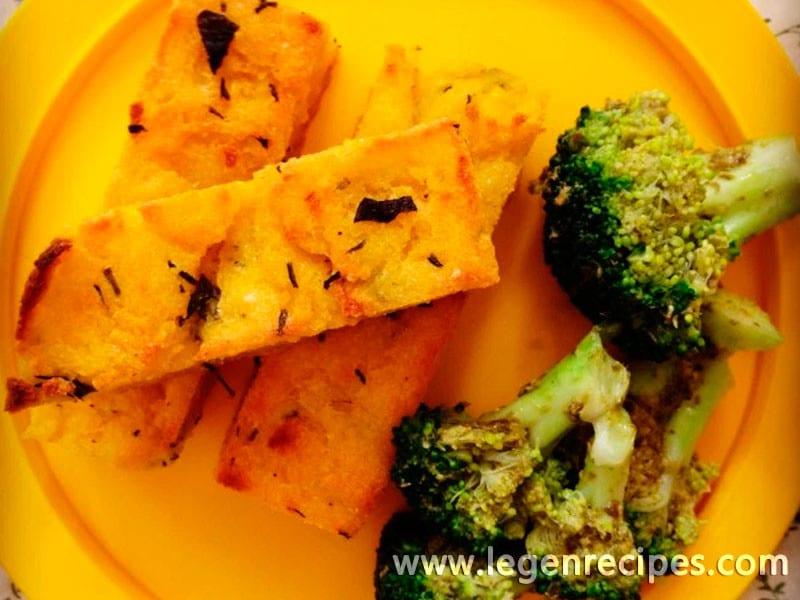 Herbed polenta chips & pesto broccoli trees
