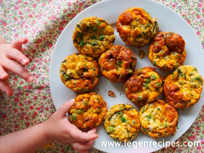 Mini pea and pesto frittatas